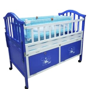 Baby bed crib with net and drawers