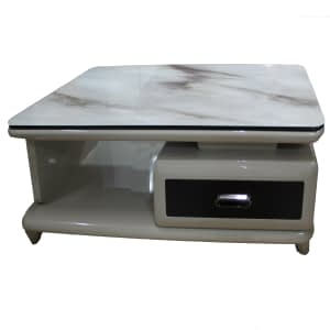 Marble and glass Top coffee Table with Drawer
