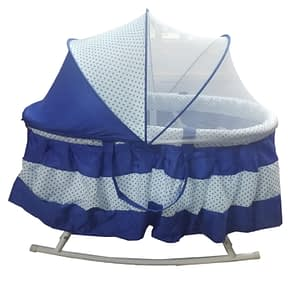 Baby bed crib short height color blue with net