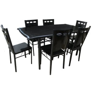 Dinning Table Black color tough glass with 6 seat N0:0352