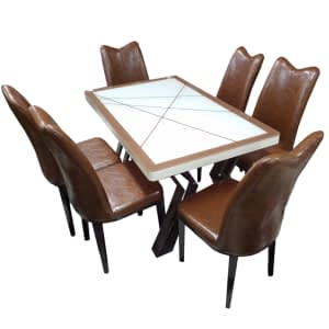 glass dining table 6 leather set