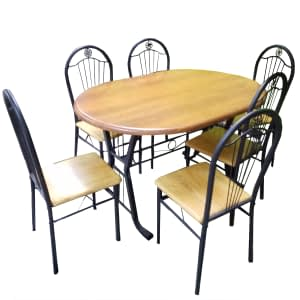 Dining Table with 6 seats wooden steel