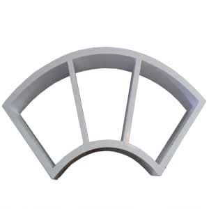 U shaped Shelf with 3 compartments color white
