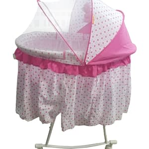 Bed Baby Cradle Cot & Baby Stroller With With Fabric Mosquito Net Infant Crib Baby Bed - Pink