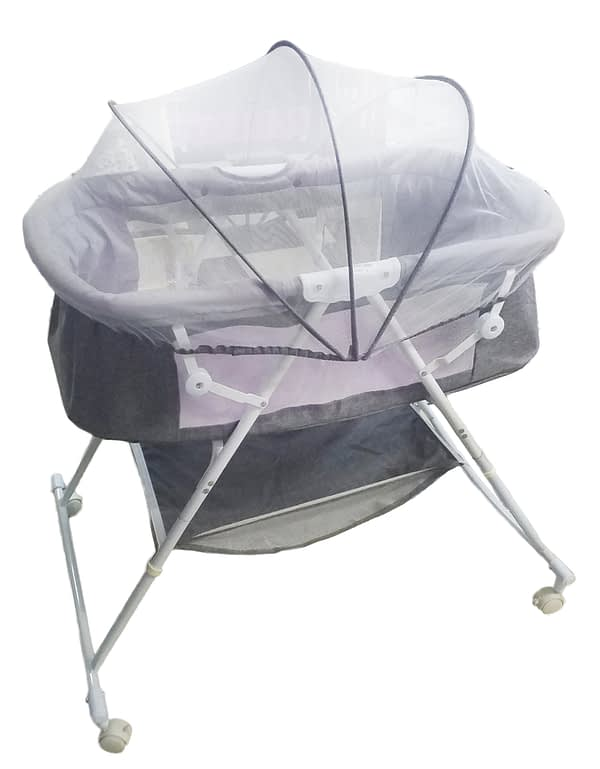Baby crib bassinet color purple grey