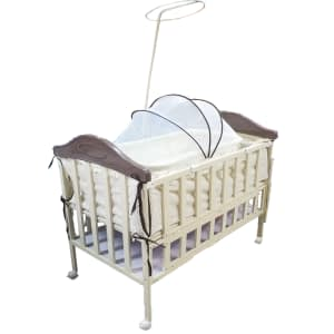 Baby Crib With swing cream color