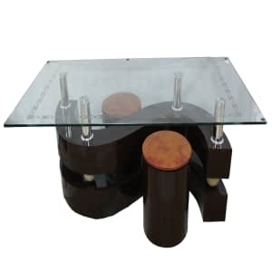 coffee table glass design with curved wooden base no.207